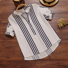 Loose V-neck Half-sleeve Holiday Casual Women's Striped Shirt