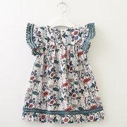 Vestidos florales para niñas, niños, manga de mosca, vestido casual para 2Y-11Y