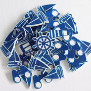 100Pcs Blue Sea Wooden Sewing Buttons 2 Hole Lighthouse Rudder Boat Binoculars DIY Craft Accessories