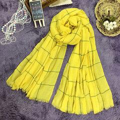 Mujer Bufandas con flecos de algodón a cuadros Lino Soft Chal largo