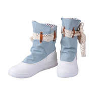 Fitas Denim Bow Martin Soft Botas doces bonitos para mulheres