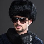 Men Winter Warm Thick Warm Ears Fur Imitation Rabbit Hair Lei Feng Cap Outdoor Casual Hat