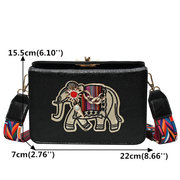 Women National Elephant Embroidery Crossbody Bag PU Leather Shoulder Bag