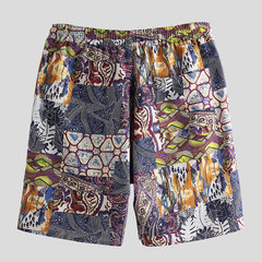 Mens Ethnic Style Printed Hawaii Board Short Knee Length Cotton Linen Loose Beach Casual Shorts