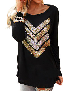 Casual Women Long Sleeve O Neck Sequin T-Shirts