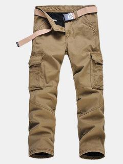 Mens Winter Thick Warm Cargo Pants Polar Fleece Lined Soild Color Big Pocket Casual Trouser