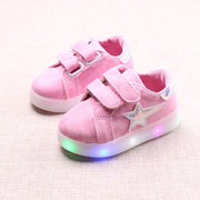 Unisex Kids Star Decor LED Light Hook Loop Party Casual Shoes