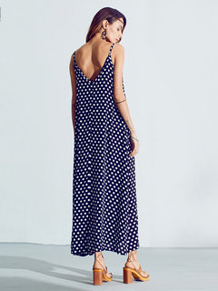 Bohemian Women Sexy Strap Polka Dot Backless V Neck Beach Dress