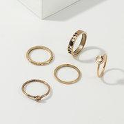 خواتم معدنية هندسية خمر مجموعة جولة الجوف حجر الراين المفصل خواتم مجوهرات العصرية