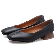 Elegant Color Round Toe Low Heel Loafers
