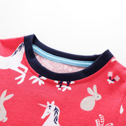 Horse Print Girls Short Sleeve Casual Dress For 1-9Years
