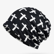 Cross Cotton Beanie Cap Ring Scarf Hip Hop Collar Neck Scarves Hats Multi-function For Woman and Man