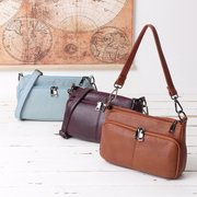 Mulheres Multi-slots Casual Bolsa Genuine Leather Crossbody Bag Bolsa de Ombro