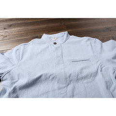 Mens National Style Cotton Solid Color Long Sleeve Loose Casual Shirt
