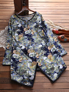 Vintage Printed Button Pocket Shirts For Women