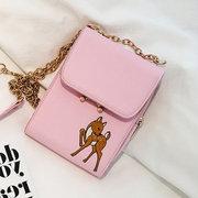 Women PU Leather Trifold Phone Bag Animal Embroidery Mini Crossbody Bag