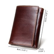 RFID Antimagnetic Genuine Leather Vintage Multi-Card Slots Tri-fold Wallet For Men