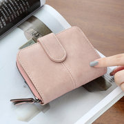 Women PU Leather Short Wallet Matte Leather Little Coin Bags