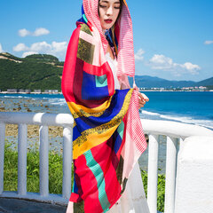 180cm*100cm Womens Summer Thin Printing Scarf Plus Size Beach Artificial Silk Sunshade Scarf Shawl