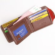 Men Business PU Leather Multi-slots Short Wallet