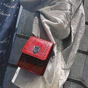 Chic Casual Phone Bag PU Leather Chain Crossbody Bag Solid Shoulder Bag