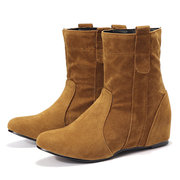 Increased Heel Slip On Pure Color Mid Calf Casual Boots