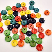100Pcs 15mm Colorful Wooden Buttons DIY Decoration Knitting Sewing DIY Materials