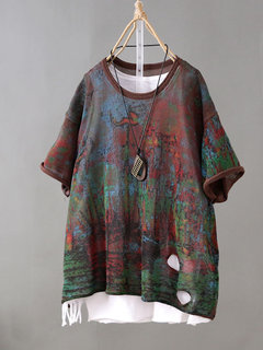 Vintage Short Sleeve Knit Distressed T-Shirt