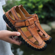 Men Hand Stitching Leather Non-slip Hook Loop Casual Outdoor Sandals