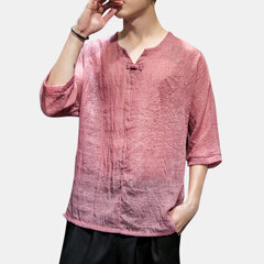 Mens style chinois mince respirant demi-manche lâche t-shirt pull occasionnel