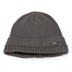 Men Solid Color Knit Plus Velvet Fashion Beanie Hat Outdoor Travel Keep Warm Windproof Ski Cap