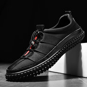 Men's Leather Splicing Stylish Bungee Closure Casual Sneakers
