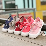Girls Bowknot Decor Pure Color Hook Loop Lovely Canvas Flat Shoes