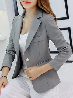 Solid Color One Button Slim Office Lady Suit Jacket
