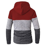 Mens Casual Stitching Drawstring Design Sweatshirt Langarm Baumwolle Hoodies