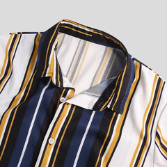 Mens Hit Color Striped Stand Collar Short Sleeve Henley Shirts