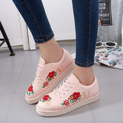 Flower Embroidery Lace Up Casual Shoes For Women
