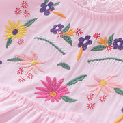 Embroidery Flower Girls Dresses Toddler Casual Dress For 2Y-9Y