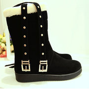 Buckle Button Flat Boots For Women