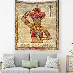Vintage Tarot Pattern Thicken Plush Fabric Tapestry Home Wall Hanging Tapestry Mandala Tapestry