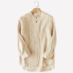 Mens 100% Cotton Brief Breathable Solid Color Single-breasted Casual Shirt