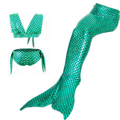 3Pcs Girls Mermaid Tail Bikini Bathing Suit Costume Swimwear For 4Y-13Y