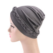 Womens Side Braid  Beanie Cap Bohemian Style Casual Vintage Polyester Solid Bonnet Hat