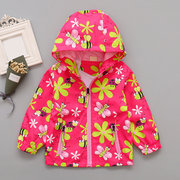 89cbd5f99 Floral Printed Girl Hooded Coat Jacket Windbreaker Toddler Girls Clothes Spring  Autumn