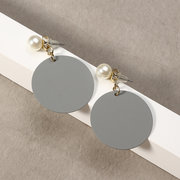 JASSY® Cute 18K Gold Plated Pearl Earrings Fashion Green Grey Copper Coin Ear Stud Gift for Girl
