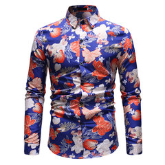 Homens Turn Down Collar Manga Comprida Floral Impresso Banquete Club Stage Casual Camisa