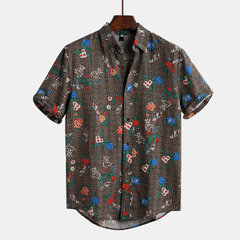 Mens Floral Printed Ethnic Style Funny Hawaiian Short Sleeve Loose Casual Shirt