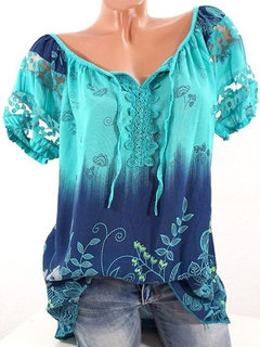 Floral Print V-neck Short Sleeve Shirt For Women