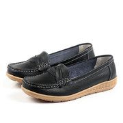 Knitting Slip On Flat Leather Soft Lazy Comfortable Shoes