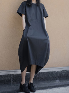 Vintage Short Sleeve Loose Plus Size Dress with Pocket